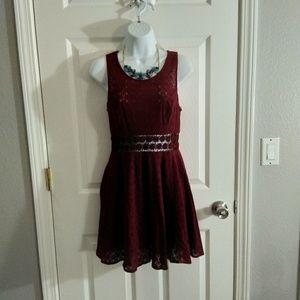 Free people burgandy mini dress size 6